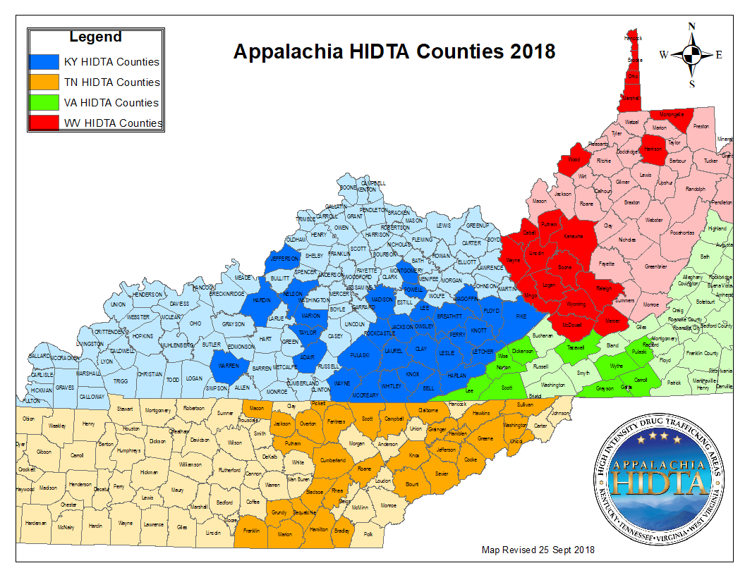 Map of HIDTA counties by state